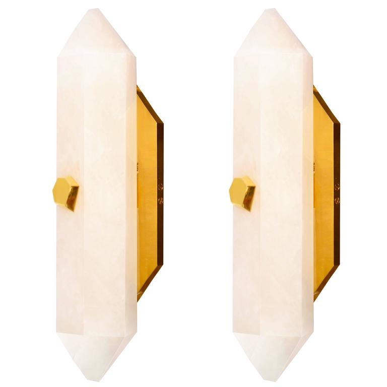 Pair of Diamond Form Rock Crystal Quartz Wall Sconces