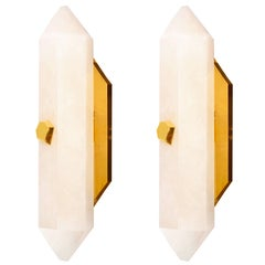 Pair of Diamond Form Rock Crystal Quartz Wall Sconces