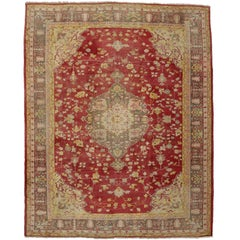 Distressed Antique Turkish Oushak Area Rug with Rustic Arts & Crafts Style