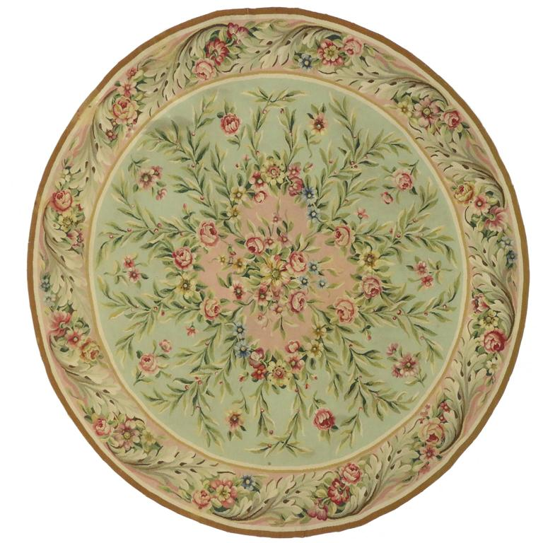 Vintage Circular Rug: Antique French Aubusson Round Rug With Rococo Style At 1stdibs
