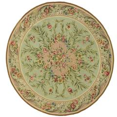 Antique French Aubusson Round Rug with Rococo Style