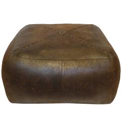 Square Stitched-Leather Pouf