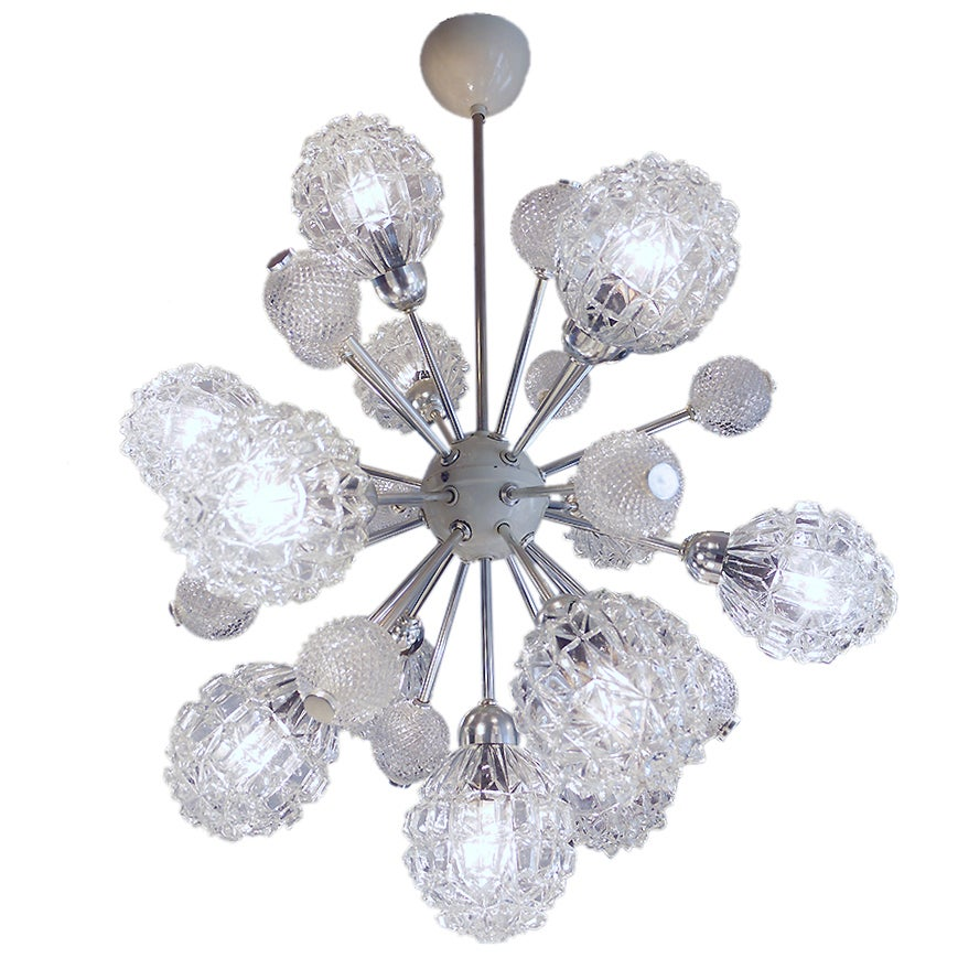 1968 Germany Richard Essig Sputnik Chandelier Crystal Bubble Glass