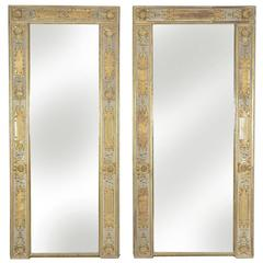 Massive Size 19th Century French Louis XIV Pier Mirrors Gold Gilt Gesso Frames