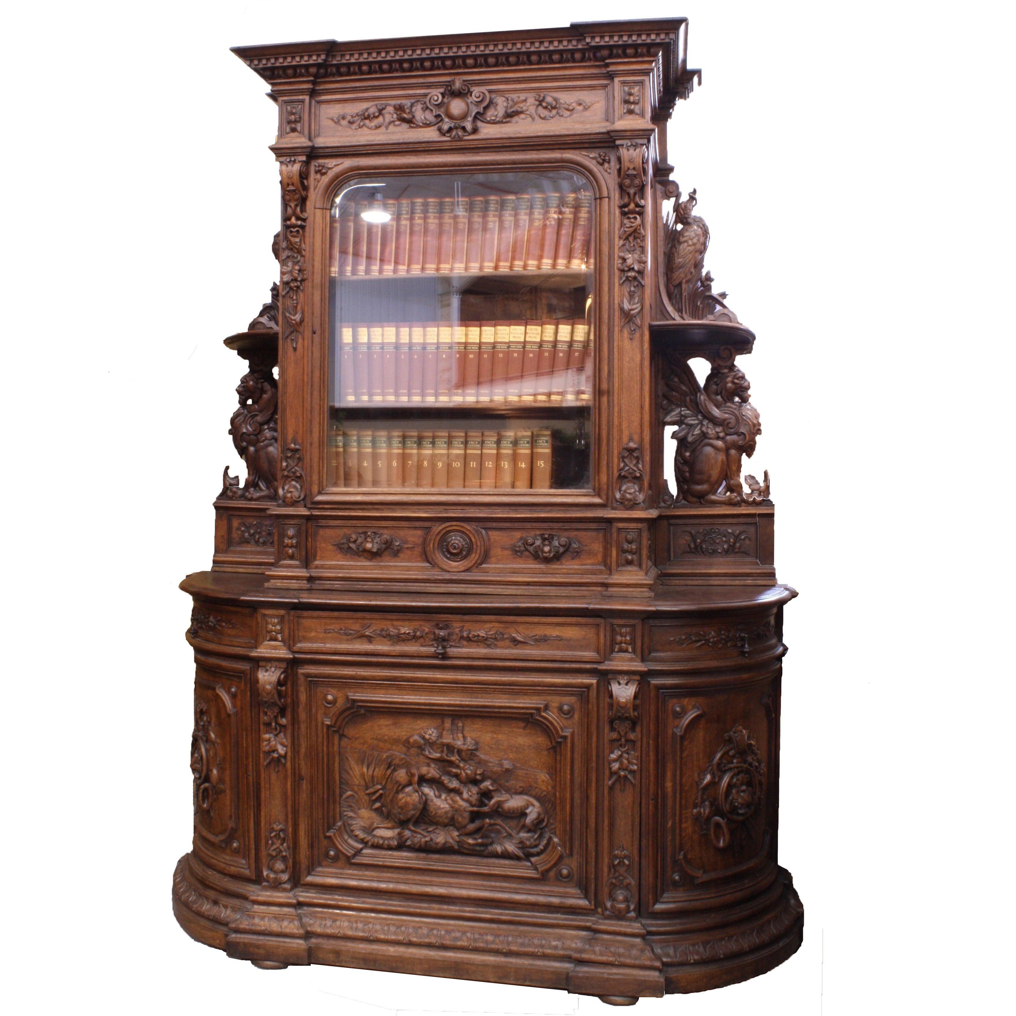 French Hunt Cabinet and Bookshelf, circa 1880