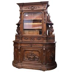 French Hunt Cabinet and Bookshelf, circa 1880