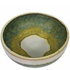 1970s Glazed Ceramic Bowl by Marcello Fantoni, Italy