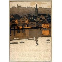 Original Antique Swiss Arts and Crafts Exhibition Poster Ruschlikon Switzerland