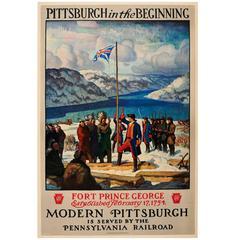 Original Pennsylvania Railroad Poster: Fort Prince George 1754 Modern Pittsburgh