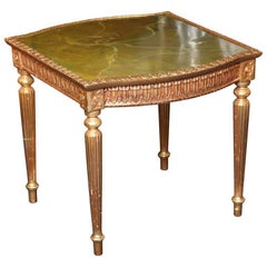 Modern Louis XVI Style Giltwood Table Painted Faux Marble Top