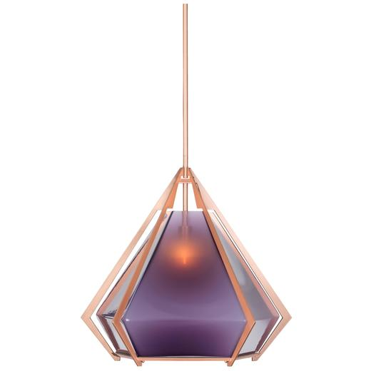 Large Harlow Pendant in Matte Steel or Metallic Finishes with Blown Glass