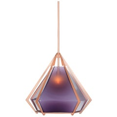 Large Harlow Pendant in Blackened Steel, Copper, Brass, Nickel and White Glass