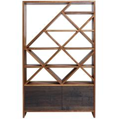 Hive Freestanding Bar Display Shelving Unit in Natural and Blackened Walnut