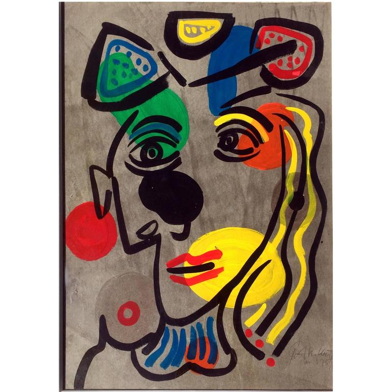 """""""Pablo Picasso with a Hat"""" Modern Expressionist Painting"""