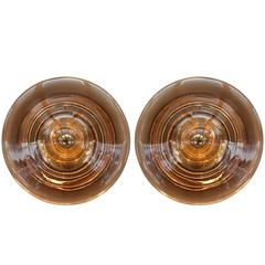 Two Huge & Very Rare 1970s Smoked Glass Flush Mount Sconces by RAAK of Amsterdam