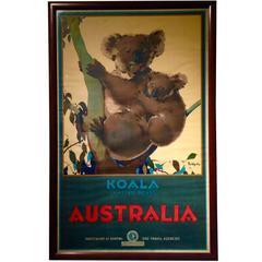 Koala Native Bear Australian Travel Poster by James Northfield