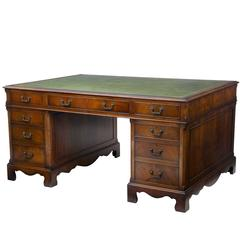 20th Century Flame Mahogany Partners Pedestal Desk