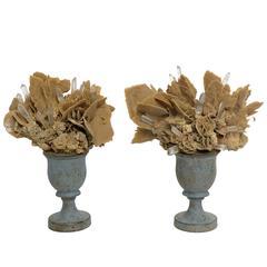 Wunderkammer Naturalia Mineral Specimen, a Pair of Desert Rose and Rock Crystal