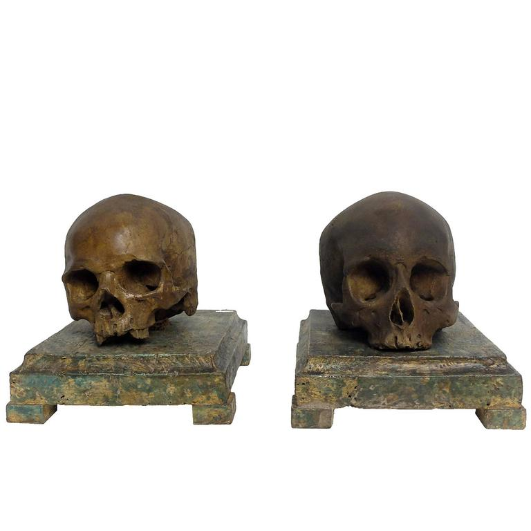 Pair Of Plaster Memento Mori Skulls Over Painted Wooden Bases For Sale At 1stdibs