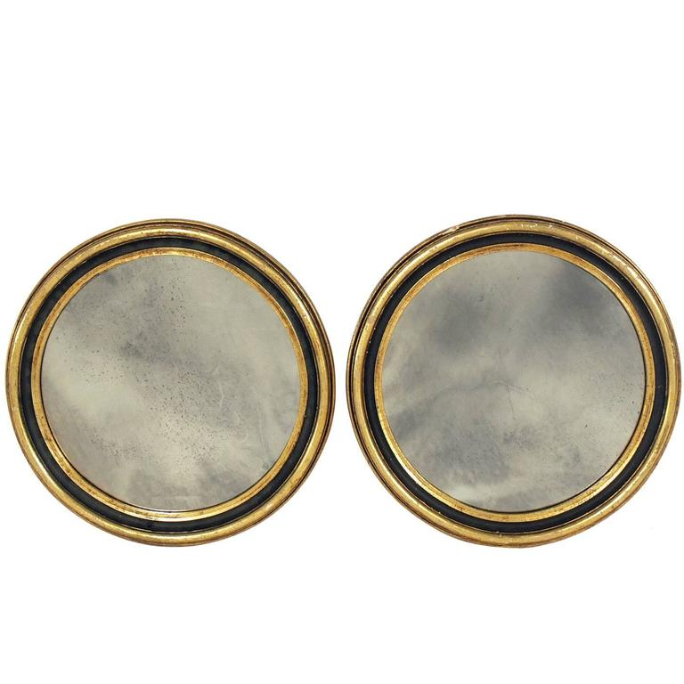 Pair of Gilt Round Antiqued Mirrors