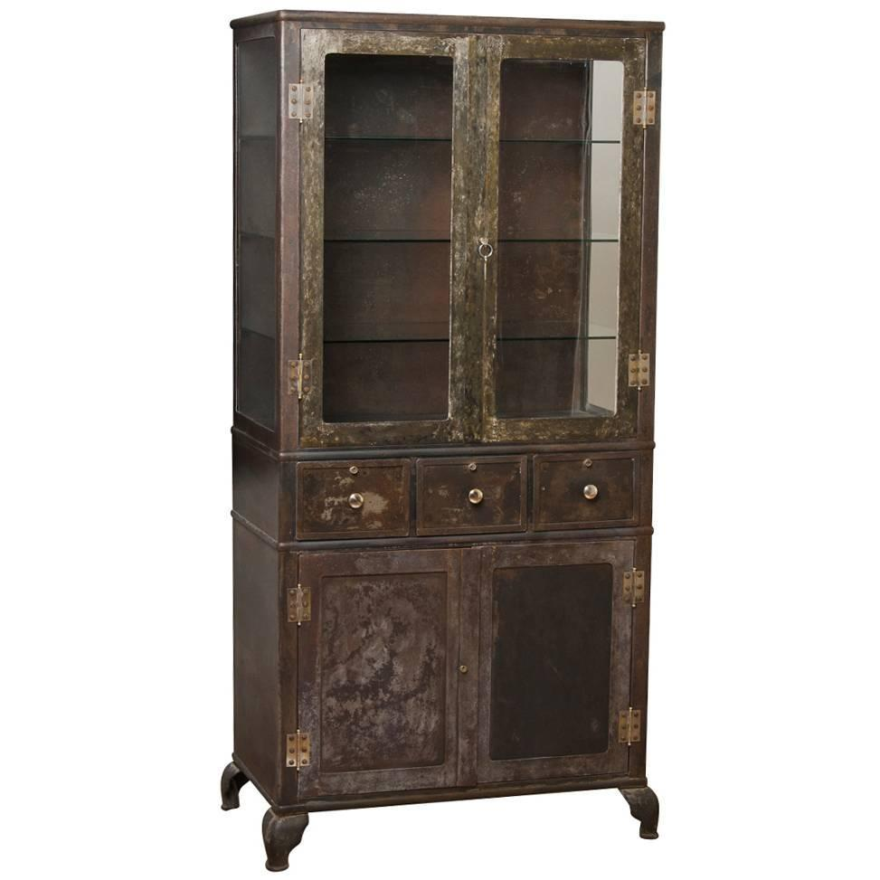 1910 American Furniture Styles: Large Industrial Raw Steel Cabinet, Circa 1910s For Sale