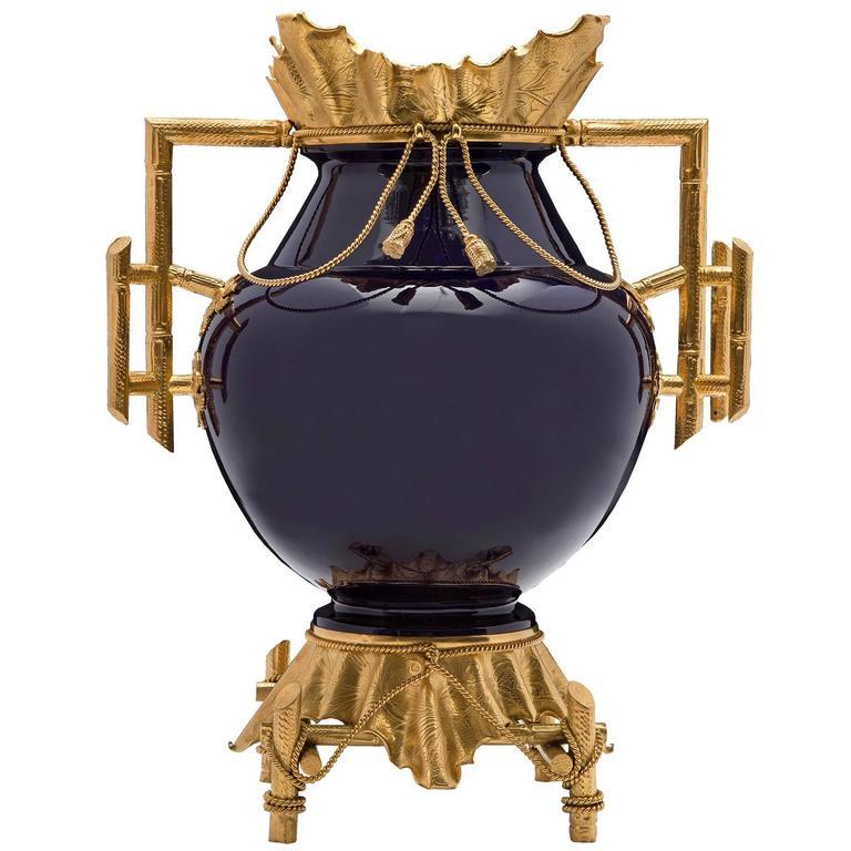 19th Century Louis XVI Style Cobalt Blue Porcelain and Ormolu Signed Vase