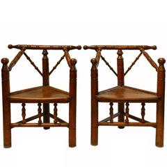 18th Century Pair of Turners Chairs Country House Oak French Provincial Armchair