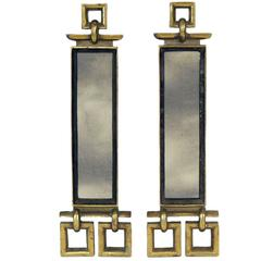 Brass and Antiqued Mirror Andirons