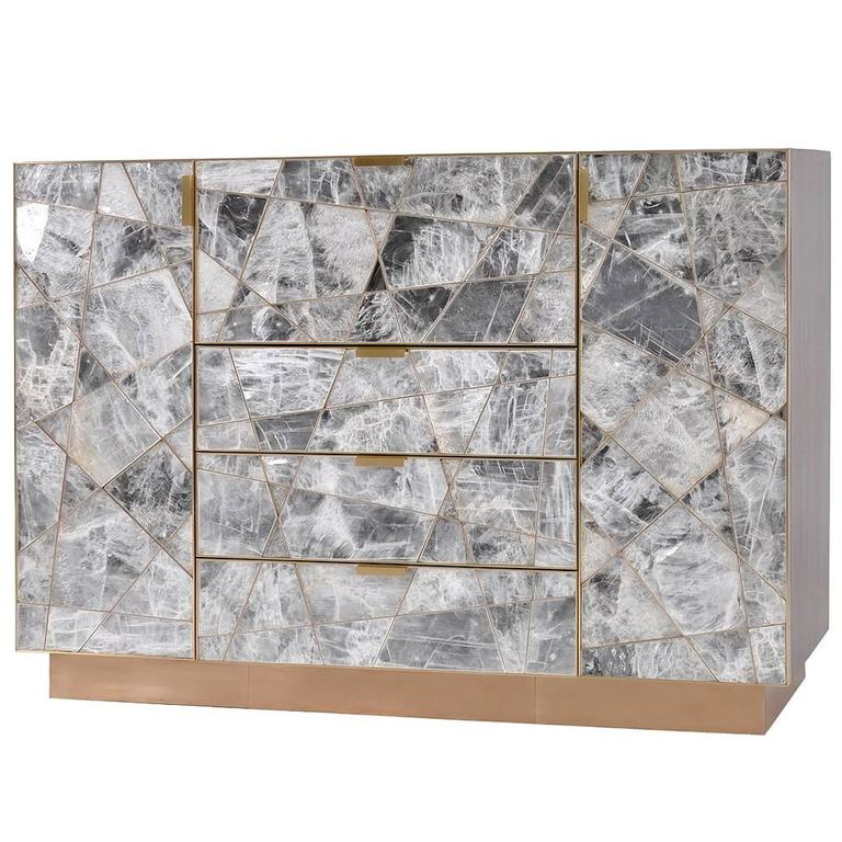 Ray Cabinet in Selenite, Bronze and Claro Walnut by Newell Design Studio 1