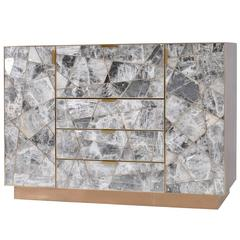 Mosaic Cabinet in Selenite, Bronze and Claro Walnut by Newell Design Studio