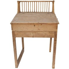 French Turn of the Century Pine Desk with Lift Top, Inner Cubbies and Drawers
