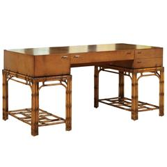 Stunning Restored Vintage Double Pedestal Campaign Desk in Birdseye Maple