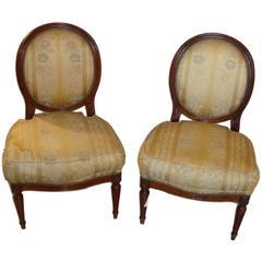 Pair of Jansen Louis XVI Boudoir Chairs