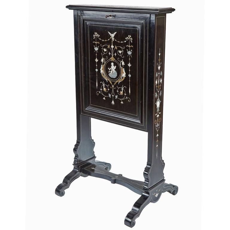 Unusual 19th century victorian black lacquer marquetry for Unusual writing desks
