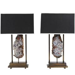 Pair of Single Stone Pedra Lamps by Dragonette Private Label