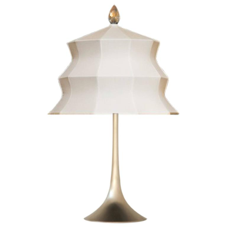 """""""Pagoda"""" Table Lamp, in brass  and creamy Silk, Silver Crystal Tip, Handmade"""