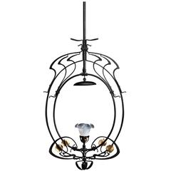 Exceptionnal Art Nouveau Chandelier from Serrurier-Bovy, 1900s