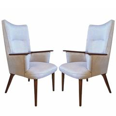 Mid-Century Modern Hansweger Style Armchairs Rosewood Frame Newly Upholstered