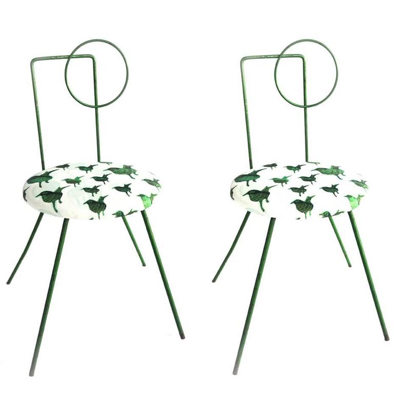 Pair of Green Wrought Iron Modern Child Chairs with Upholstered Seat, circa 1930