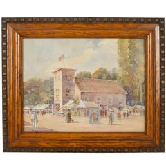 Early American Watercolor of a Town Fair