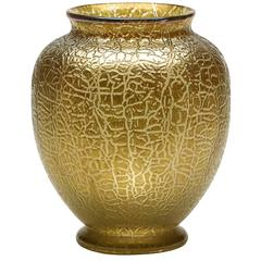 Loetz Art Nouveau Golden Crackle Finish Art Glass Vase, 1910