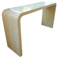 Striped Waterfall Console Table in the Style of Karl Springer