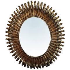 Mid-Century Gilt Tole Oval Mirror