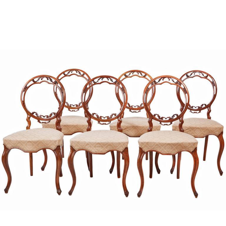 Unusual Set of Six 19th Century Walnut Balloon Back Dining Chairs