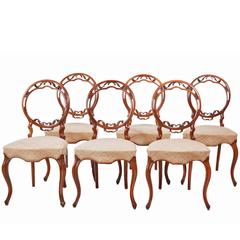 Unusual Set of Six 19th Century Walnut Balloon Back Dining Chairs