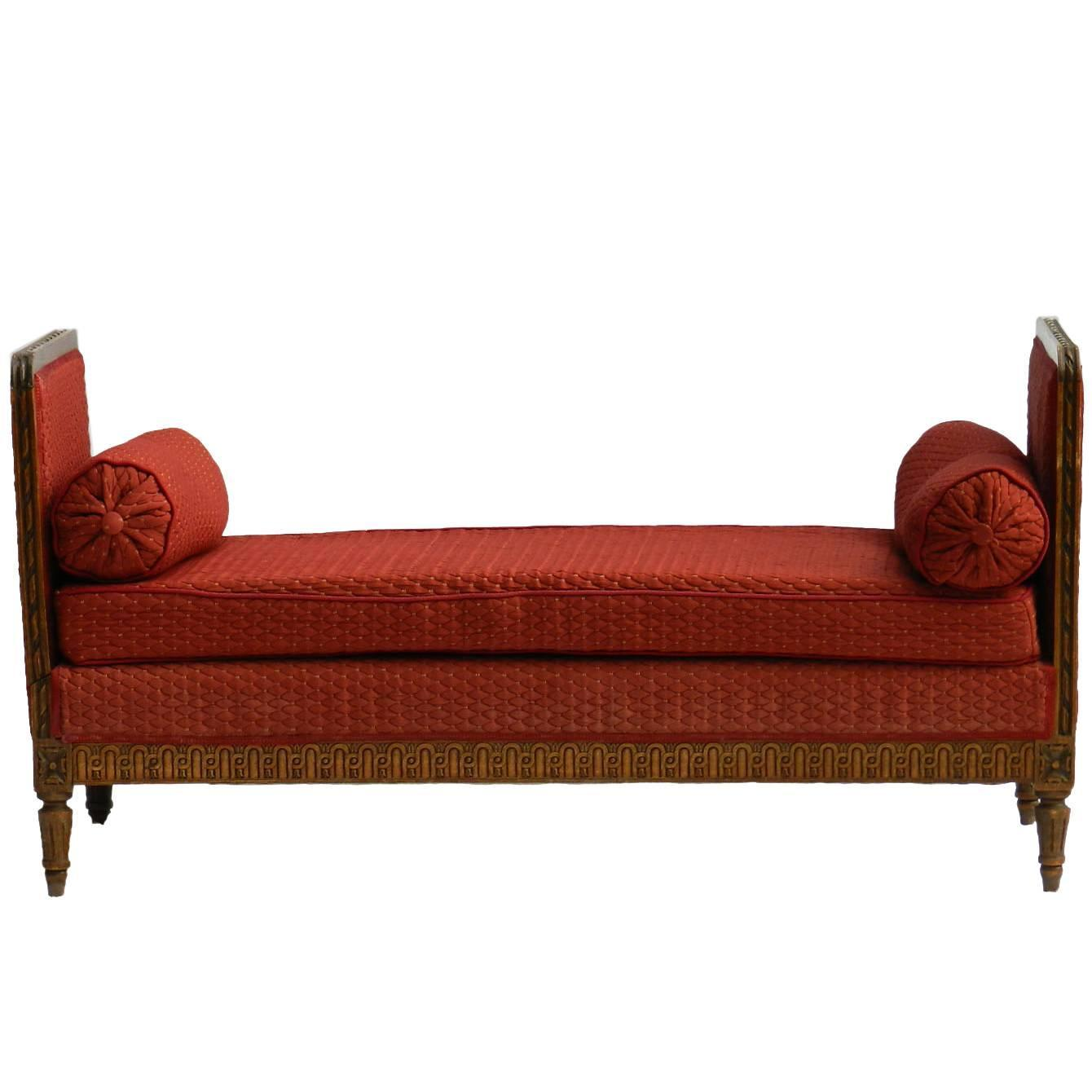 French daybed sofa or single chaise longue in oak circa for Chaise longue daybed