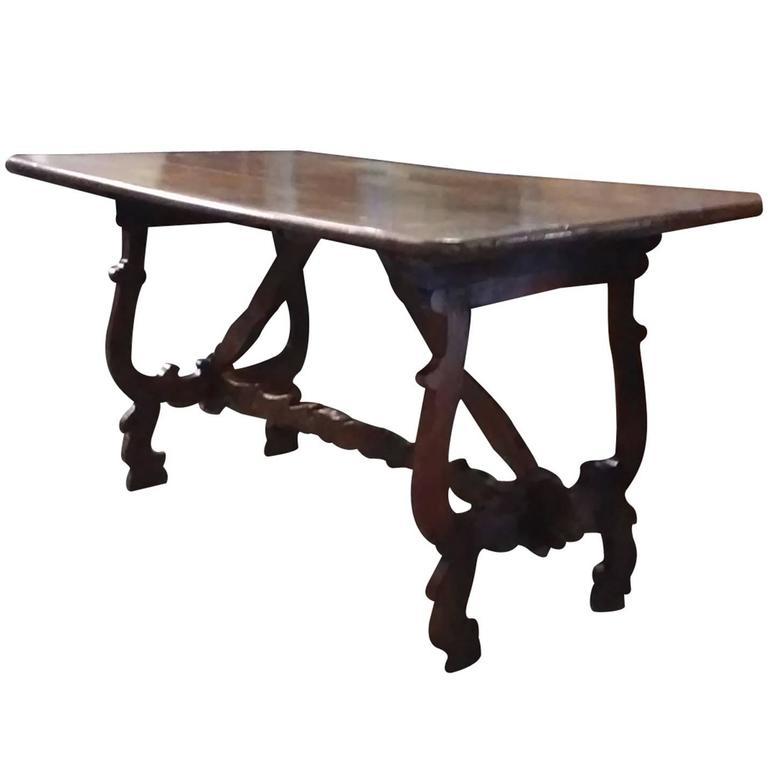 18th Century Spanish Walnut Trestle Table, Wonderful Patina
