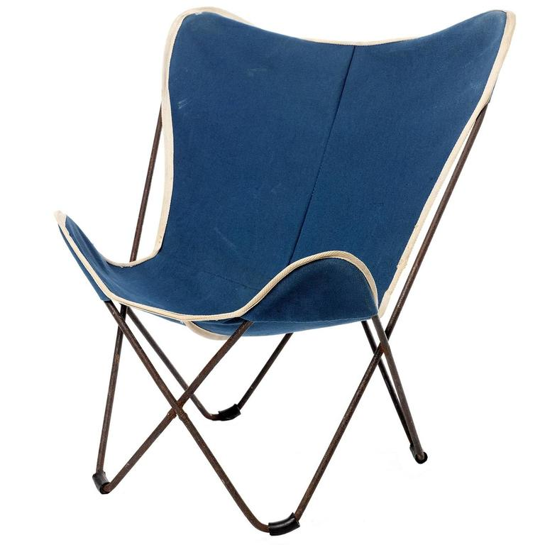 Child Butterfly Chair By Jorge Ferrari Hardoy In Blue Canvas, 1930s For Sale
