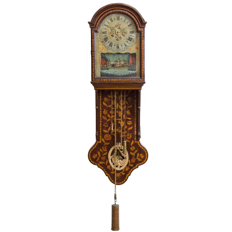Marquetry Freisland Clock with Automata, Netherlands, circa 1890 For Sale