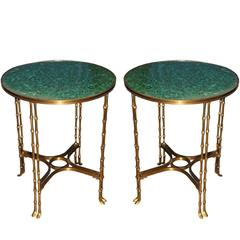 Pair of 19th Century Russian Neoclassical Malachite and Brass Side Tables